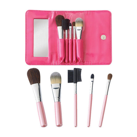 Cala Travel Short Handle Cosmetic Brush Kit 5 pc (w/Pin | Blue Scandal