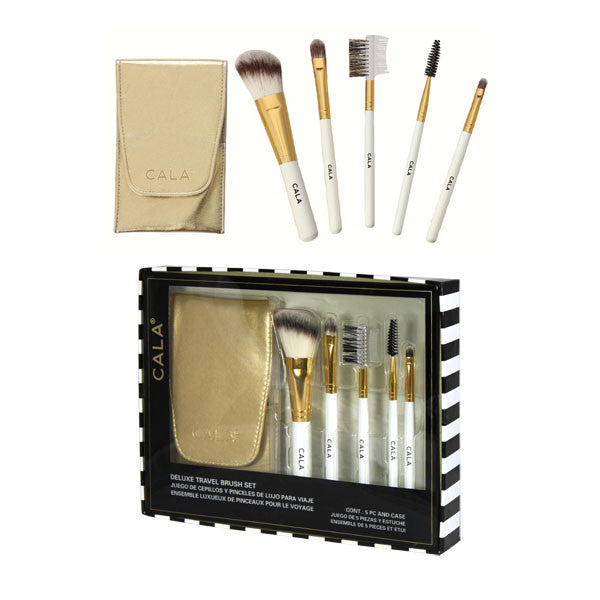 Cala 5 PCS. Cosmetic Brush kit with Gold Case | Blue Scandal