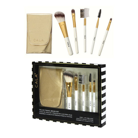 Cala 5 pc Cosmetic Brush kit with Gold Case | Blue Scandal
