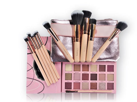 "Beauty Creations Ballerina Rose Gold 11pc Brush And ""Tease Me"" Eyeshadow Palette Set"