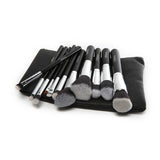 11 Pc DARK NIGHT Black and Silver Brush Set