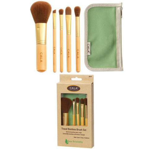 Cala 5 pc Travel Bamboo Brush Set w/ Green Pouch | Blue Scandal