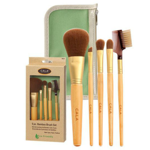 5 Piece Bamboo Brush Set with Green Pouch