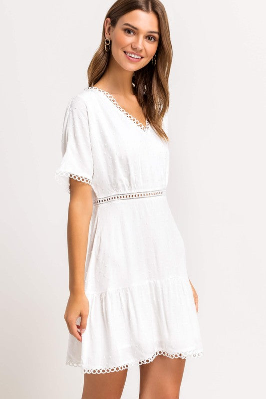 Dotted Short Sleeve White Dress - SALE