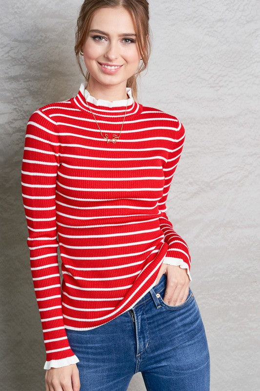 Ruffle Neck Ribbed Sweater