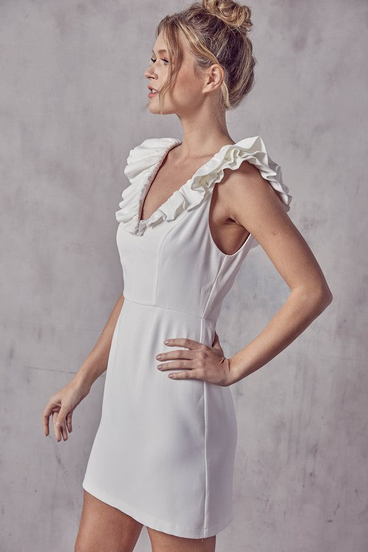 Ruffle Detail White Dress