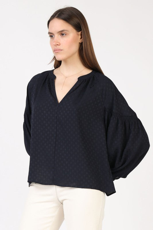 Navy Dot Bubble Sleeve Top