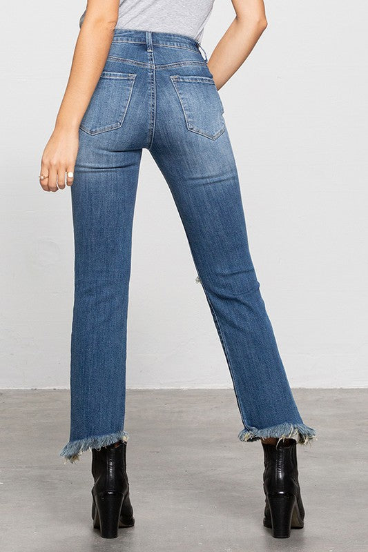 High Rise Distressed Crop Jeans - SALE
