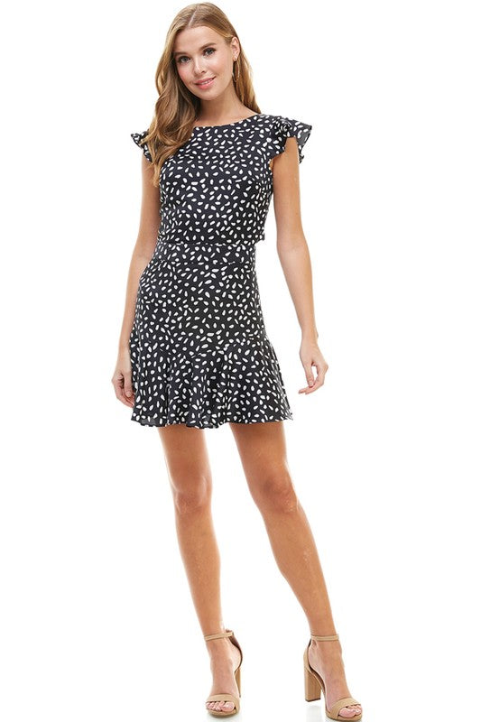 Dotted Tie-Back Dress