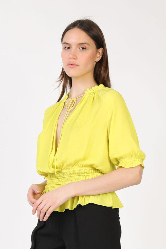 Neon Tie Neck Top