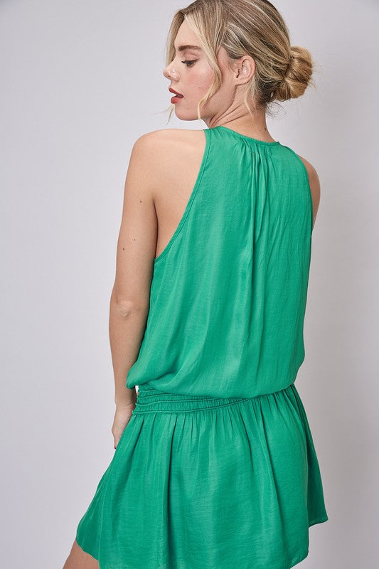 Kelly Green Drop Waist Dress - SALE