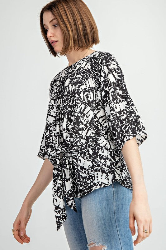 Graffiti Print Keyhole Top