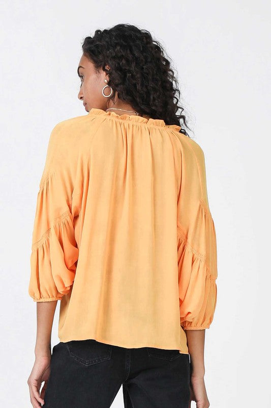 Paprika Smocked Batwing Top