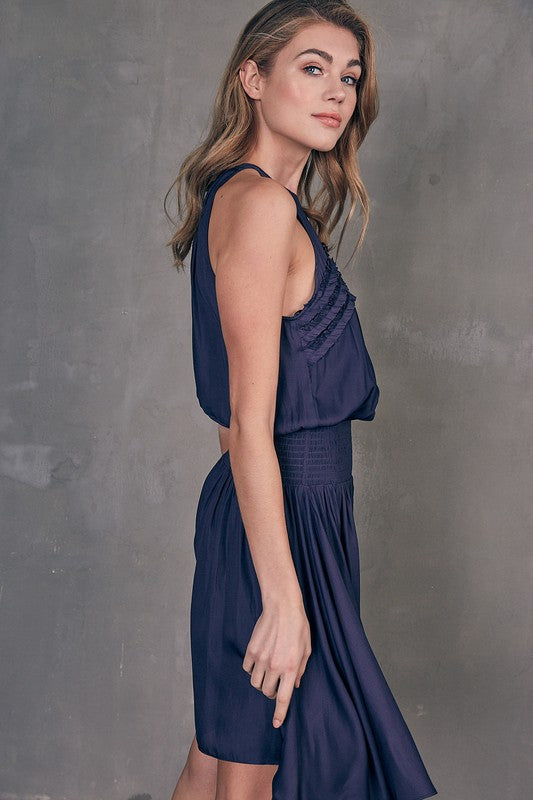 Midnight Keyhole Neck Dress