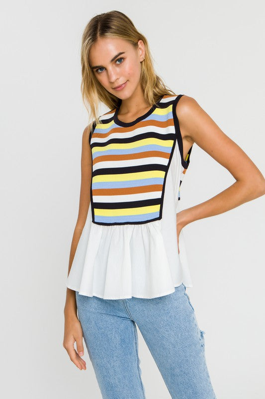 Color Block Layered Sweater Tank