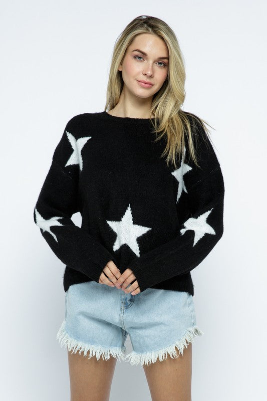 Coziest Star Sweater - Black