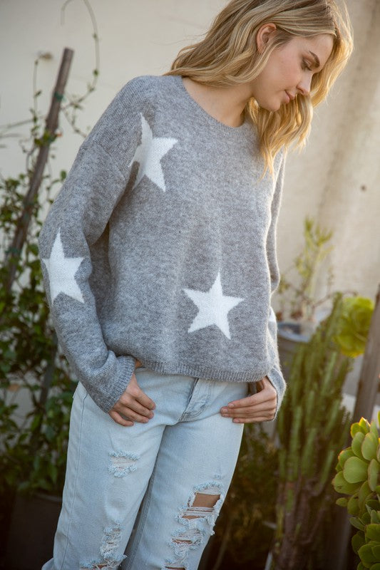 Coziest Star Sweater - Gray