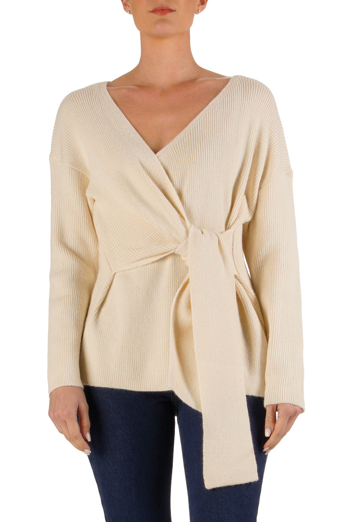 Cream Tie Front Sweater