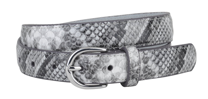Genuine Leather Grey Snake Print Belt