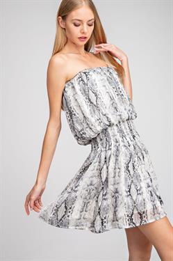 Strapless Snake Print Dress - Gray - SALE