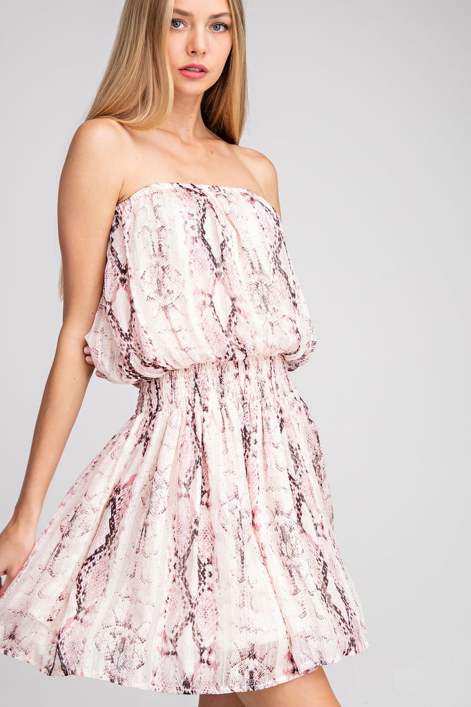 Strapless Smocked Waist Snake Print Dress - Pink