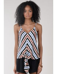 Striped Tie Front Tank