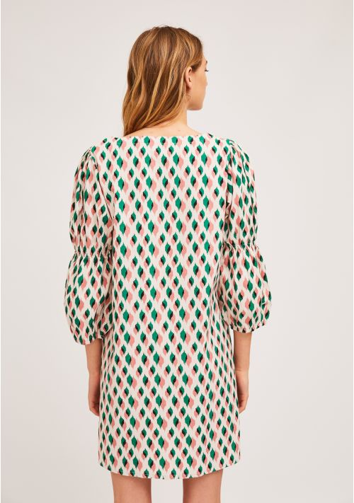 Pink & Green Ikat Dress