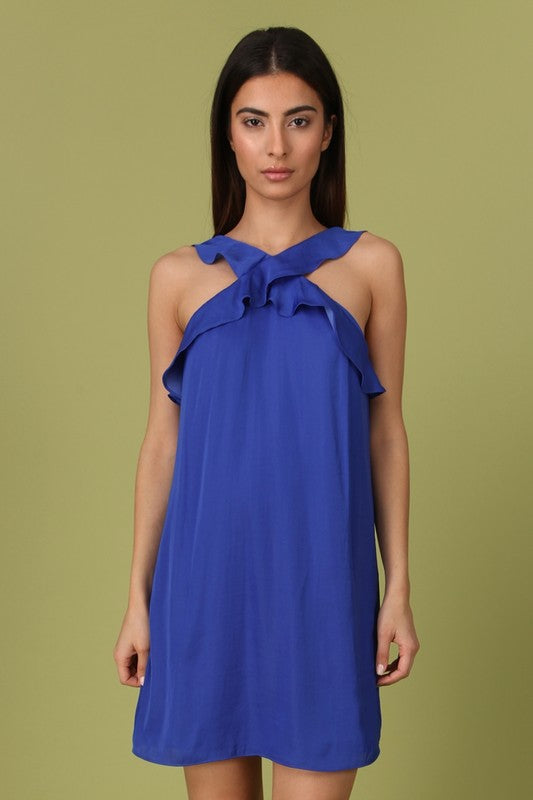 Crisscross Ruffle Neck Dress