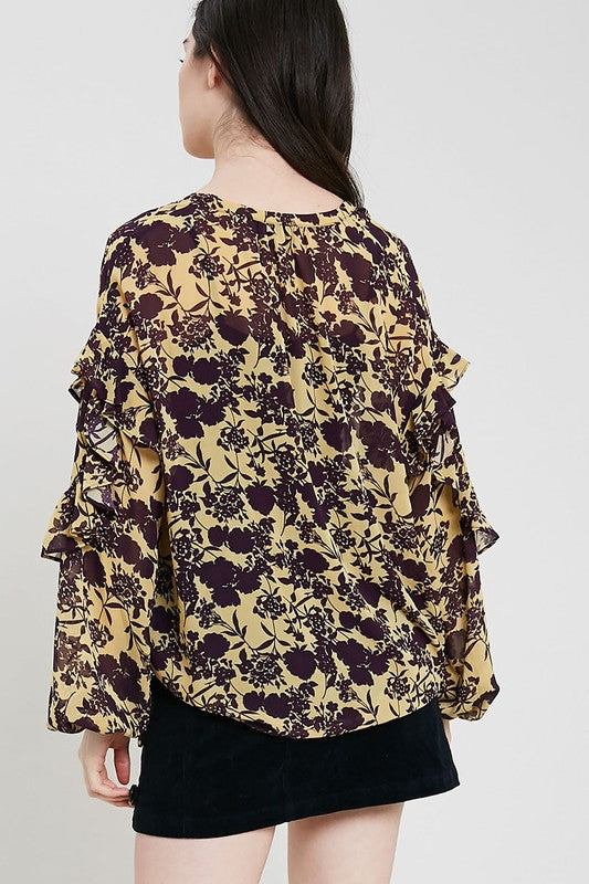 Sheer Floral Ruffle Blouse