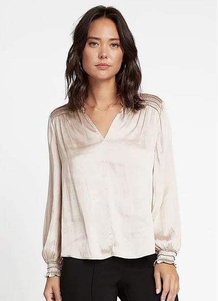 Taupe Smocked Shoulder Top