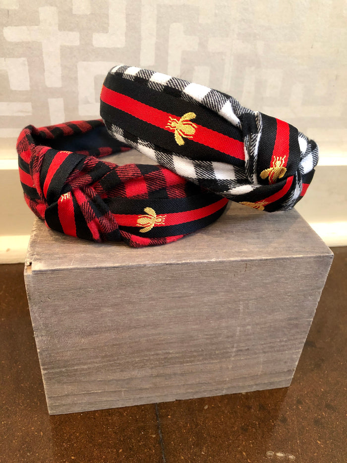 Buffalo Check Bee Headband