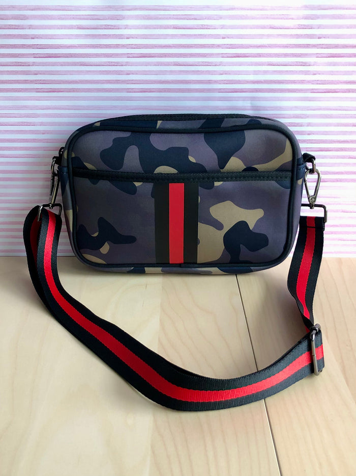 Medium Neoprene Crossbody - Camo Stripe
