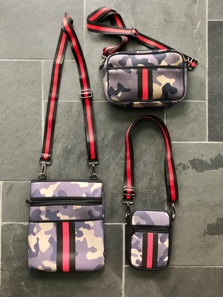 Flat Neoprene Crossbody - Camo Stripe