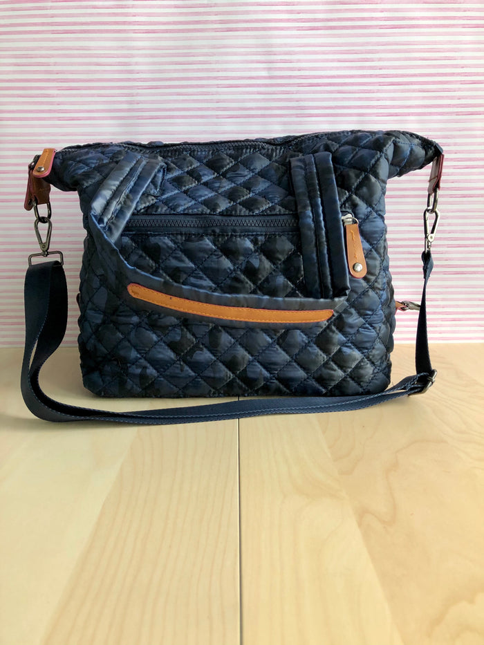 Quilted Tote Bag - Navy Camo