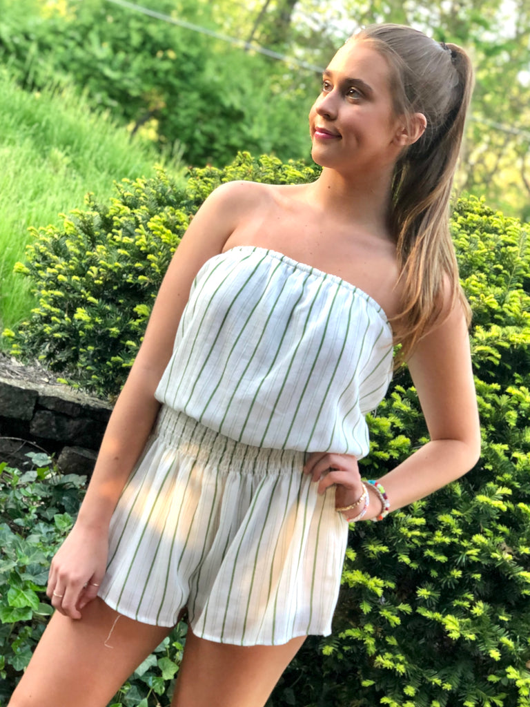 Striped Strapless Romper - SALE