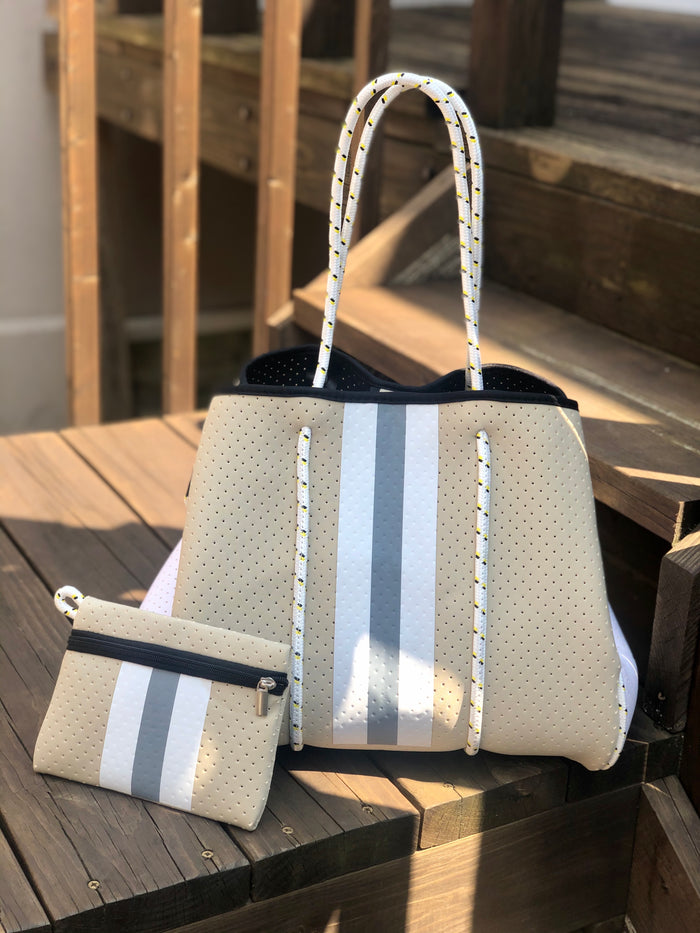 Neoprene Tote Bag - Tan Stripe
