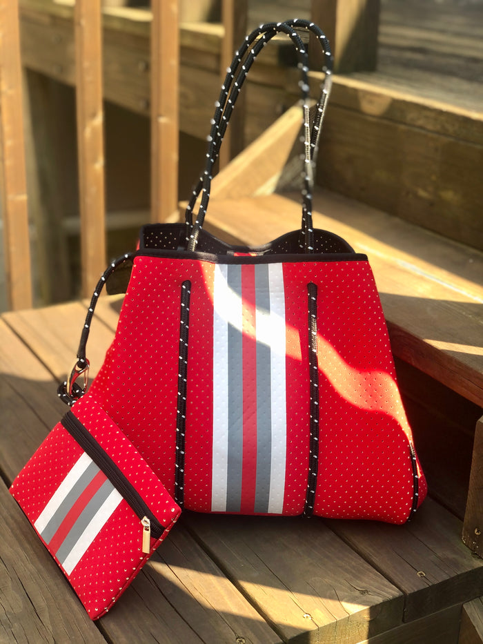 Neoprene Tote Bag - Red Stripe