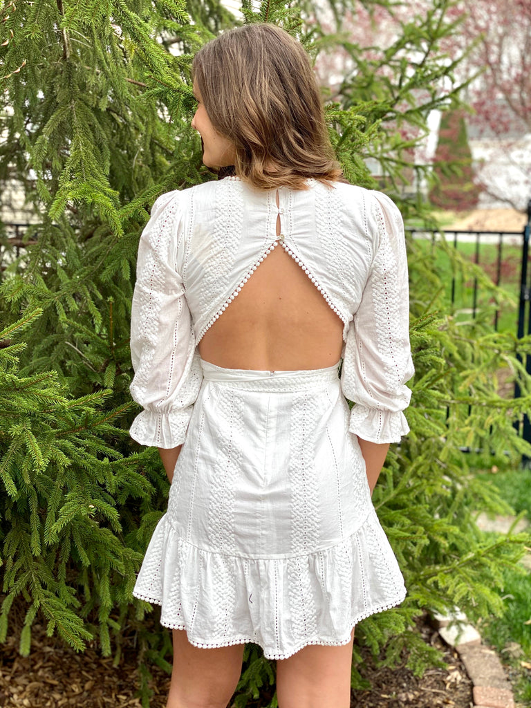 White Cotton Open Back Dress