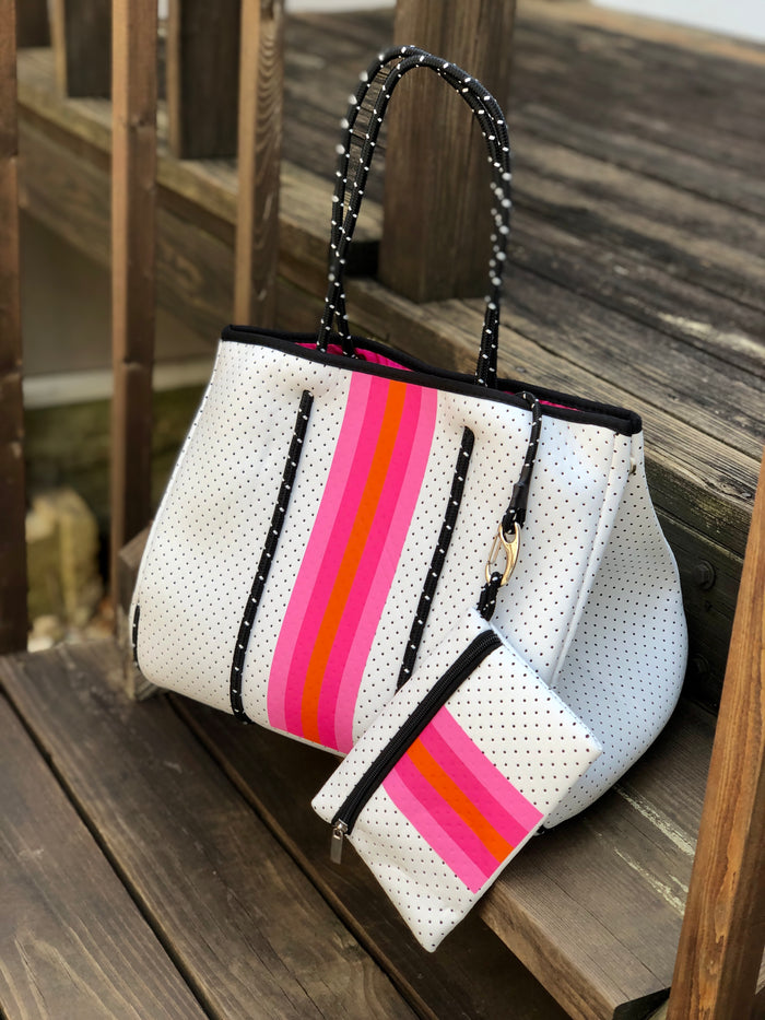 Neoprene Tote Bag - White Neon Stripe