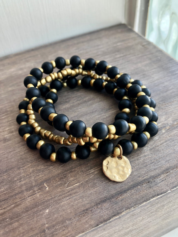 Black & Gold Stretch Bracelet Set