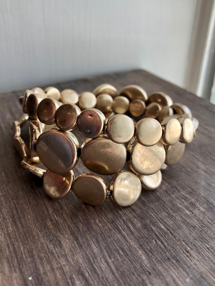 Matte Gold Disc Stretch Bracelet Set