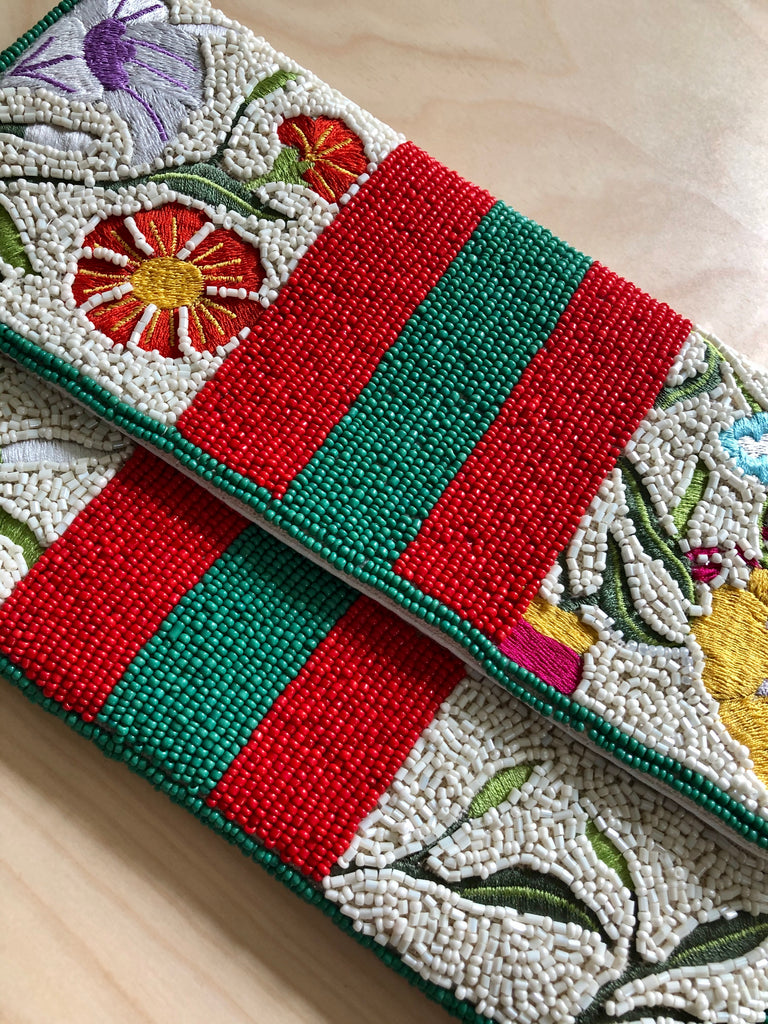 Seed Bead Crossbody / Clutch - Embroidered Flowers + Stripes