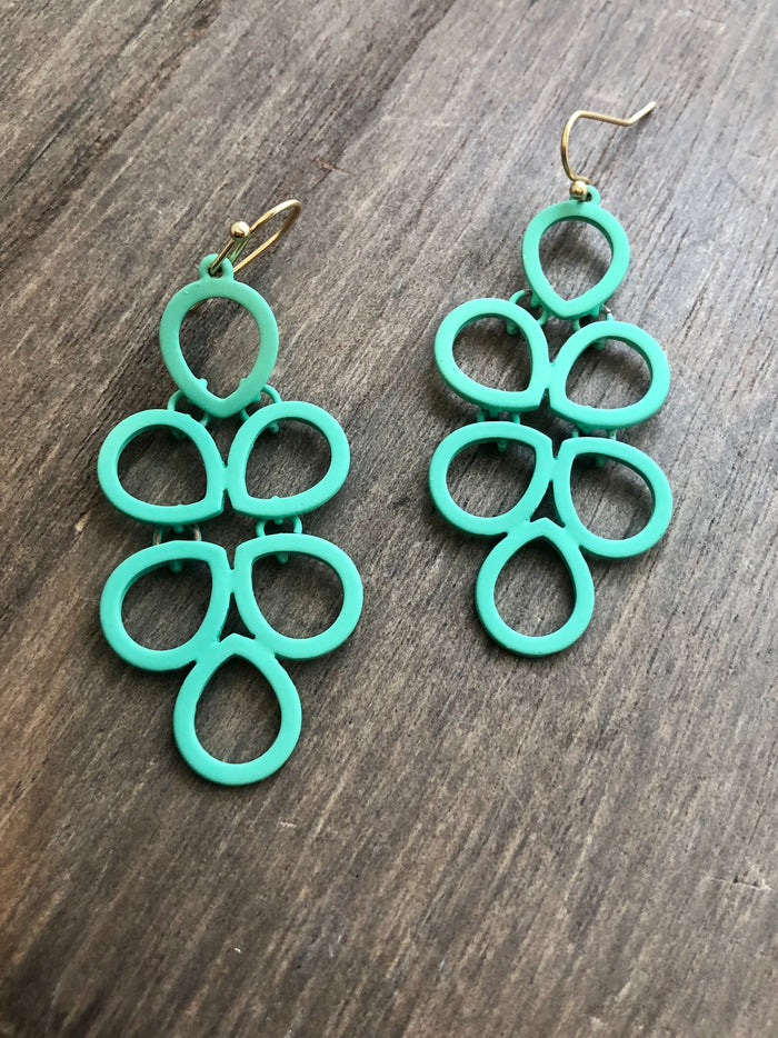 Color Coated Chandelier Earrings - Mint