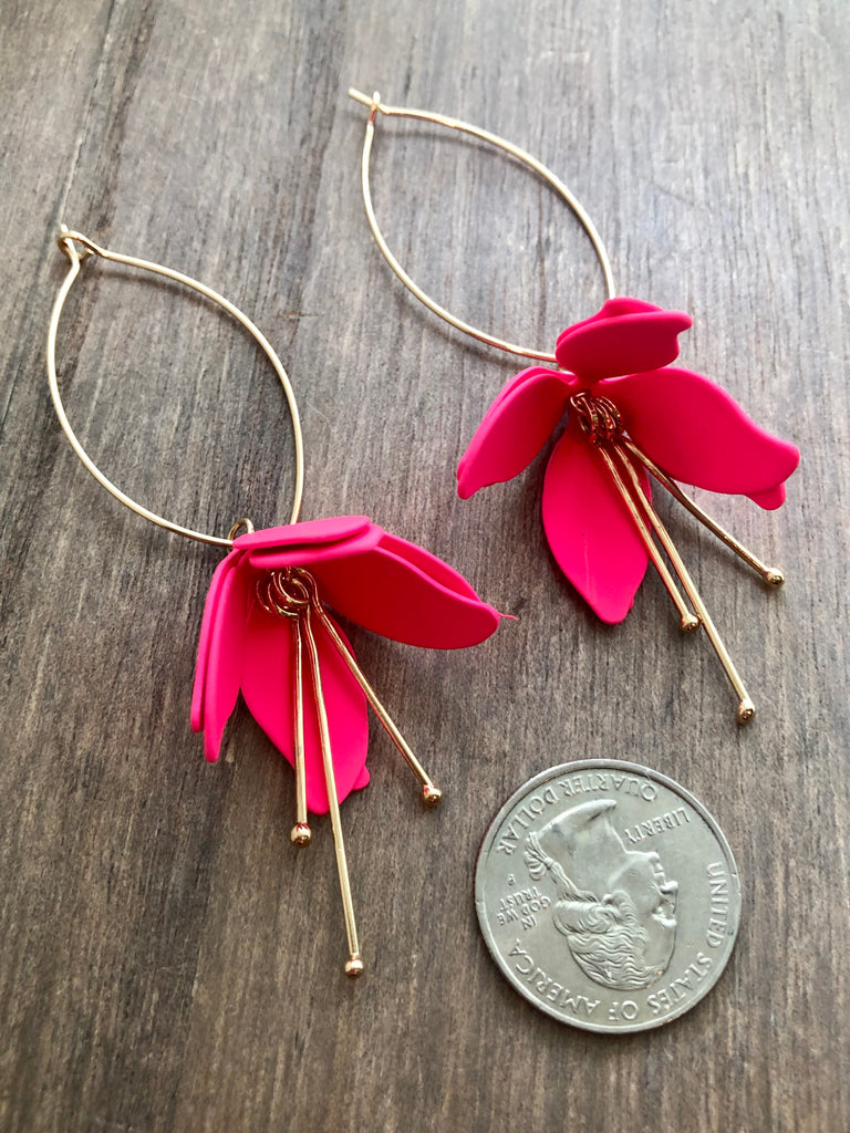 Color Coated Bloom Drop Earrings - Neon Pink