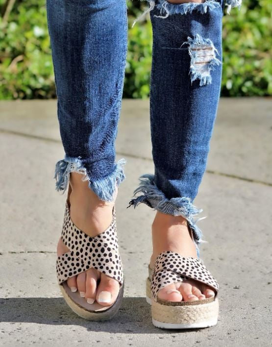 Cheetah Platform Footbed Sandal - SALE