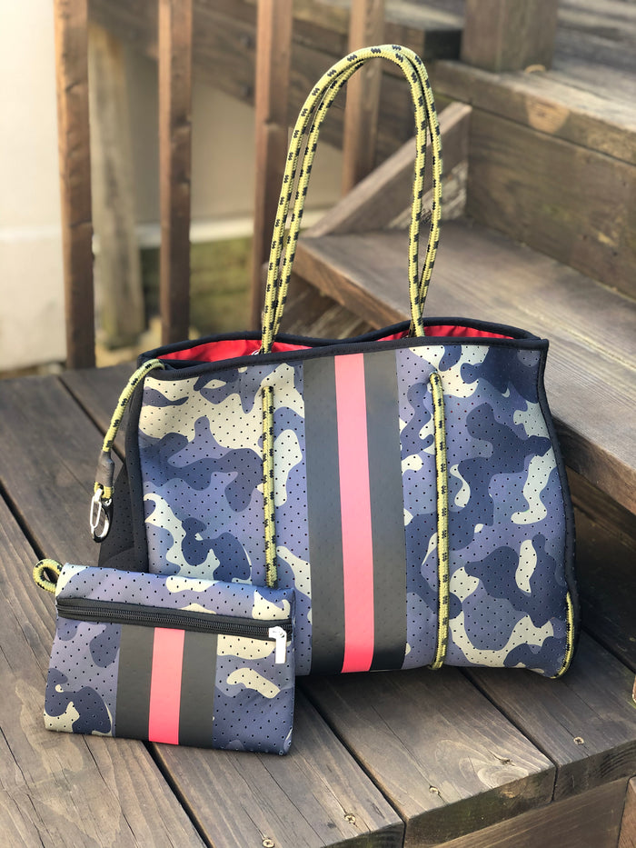 Neoprene Tote Bag - Camo Stripe