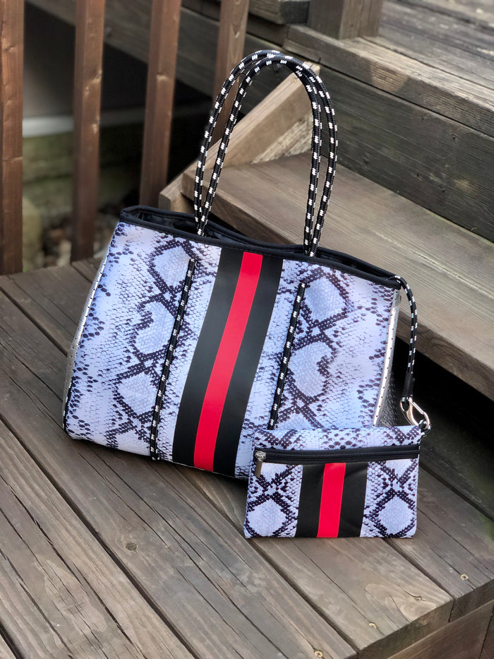 Neoprene Tote Bag - Snakeskin with Stripes