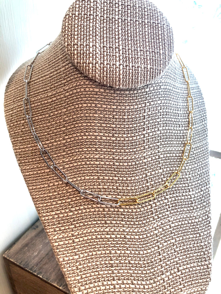 Simple Paperclip Necklace - Two Tone