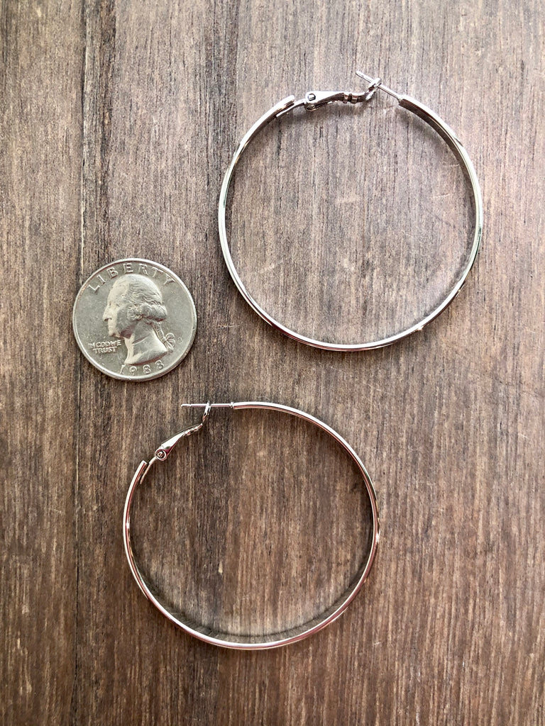 Flat Metal Hoop Earrings - Large