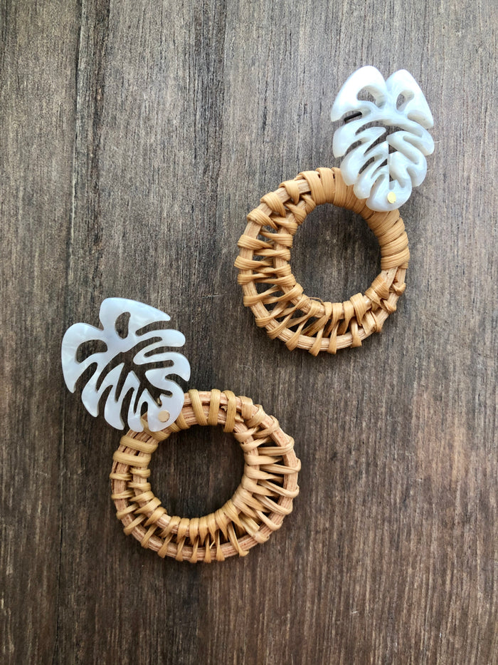 Monstera & Wicker Earrings - White - SALE